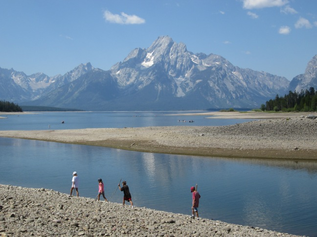 Hiking the Tetons - Kids find a path to the beach on Jackson Lake, Grand Teton, WY