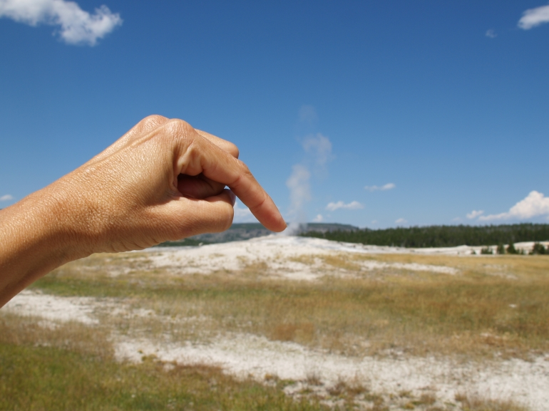 Holding It In - Waiting for Old Faithful to erupt...any minute, Yellowstone, WY