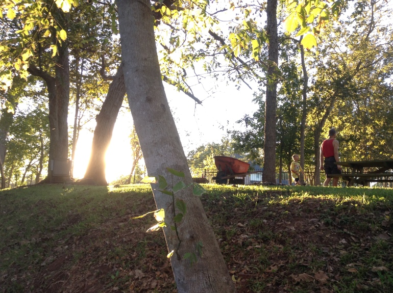 The Scotts gathering firewood for the evening's campfire.