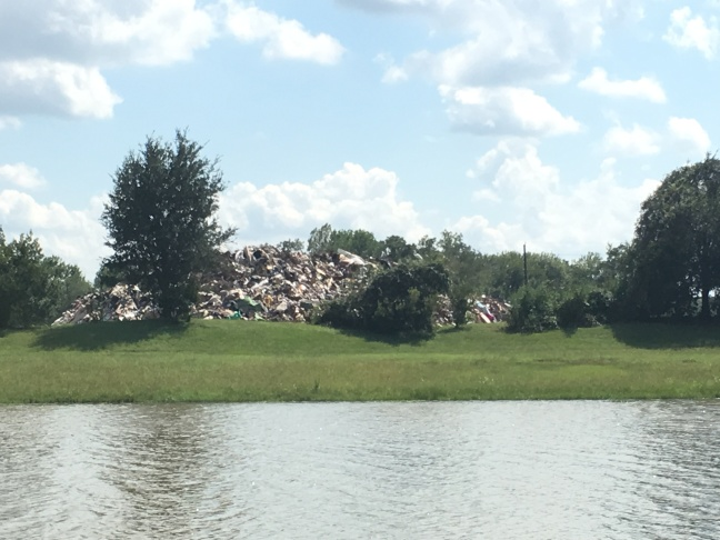 The debri pile resulting from more than a hundred homes flooding during the Harvey rains.
